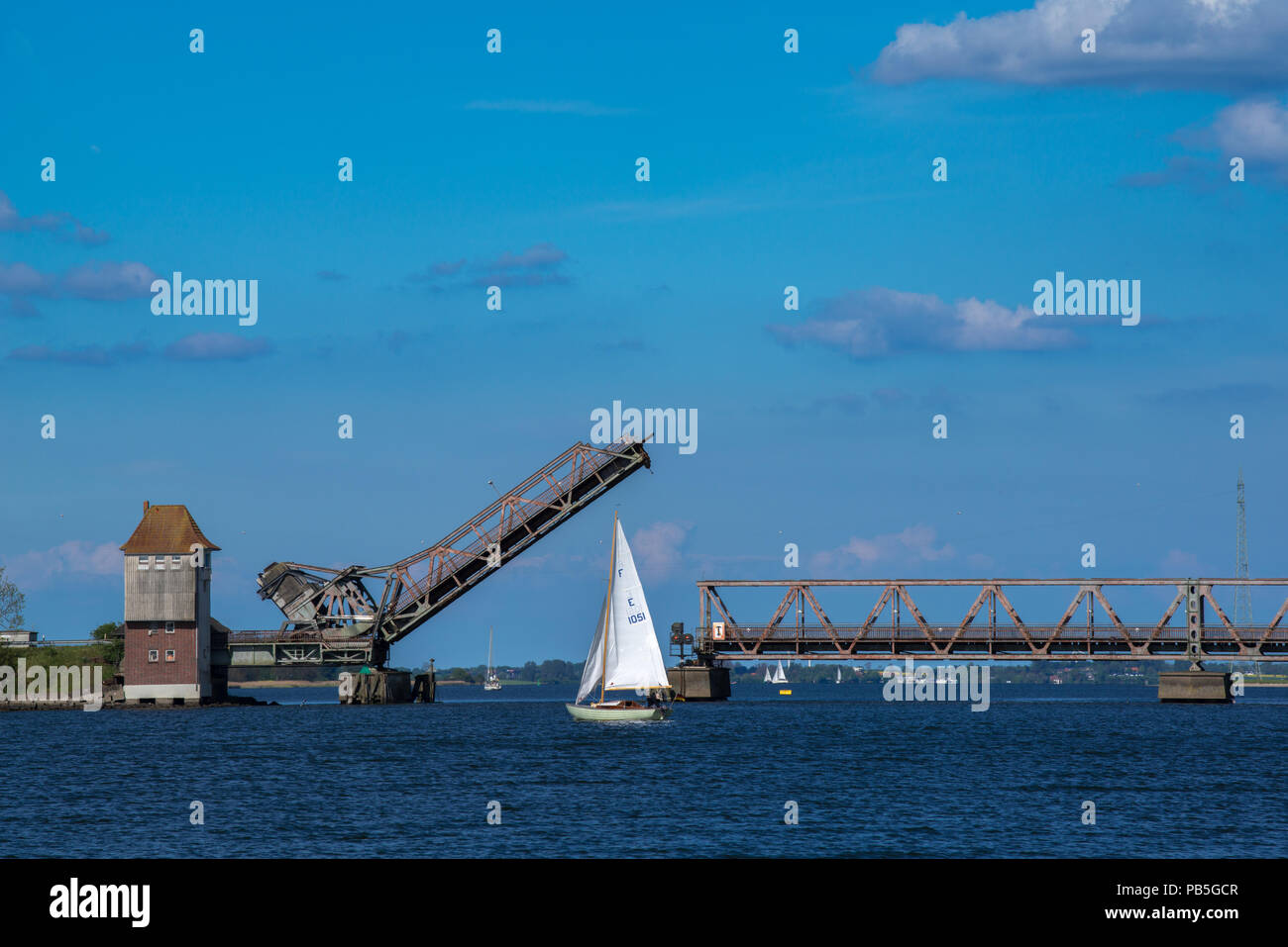 Clappbridge across the Schlei Fjord opening for sailingboats to cross, Lindaunis, landscape of Angeln, Schleswig-Holstein, Germany - Stock Image