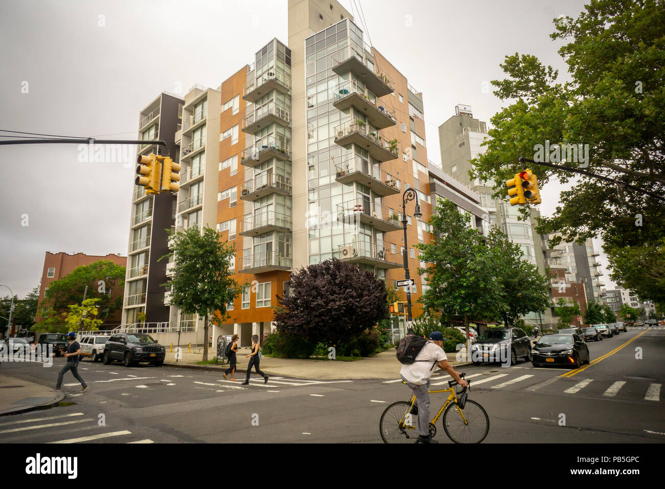 Buildings and development in the Greenpoint neighborhood of Brooklyn on Sunday, July 22, 2018.  Zoning changes in 2005 promoted residential development in areas previously designated industrial.(© Richard B. Levine) - Stock Image