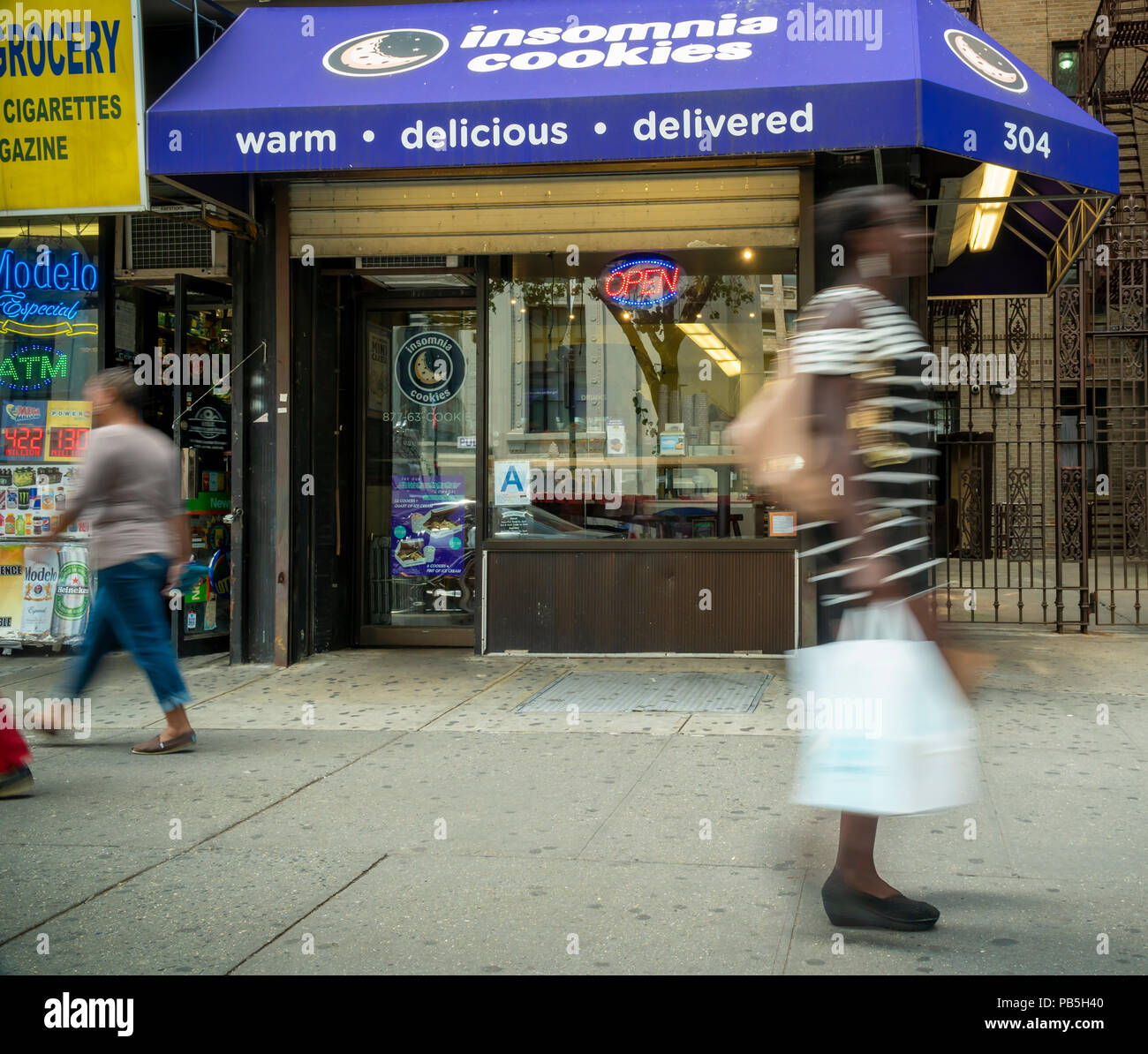 An Insomnia Cookies store in Greenwich Village in New York on Friday, July 20, 2018. Krispy Kreme, backed by its parent JAB Holdings, is purchasing Insomnia Cookies for an undisclosed amount.  (© Richard B. Levine) - Stock Image