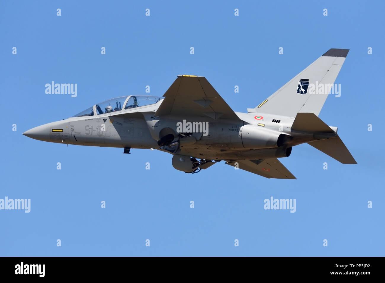 Leonardo Alenia Aermacchi M-346 Master is a military twin-engine transonic trainer aircraft. Originally co-developed with Yakovlev as the Yak/AEM-130 - Stock Image
