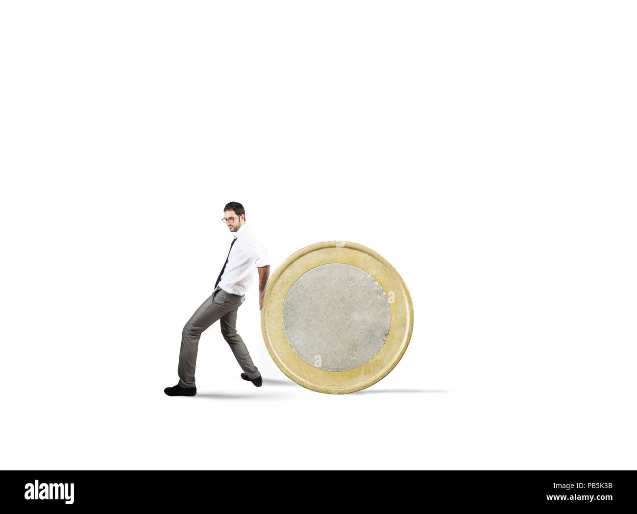 Businessman moves a coin. concept of difficulty to saving money - Stock Image