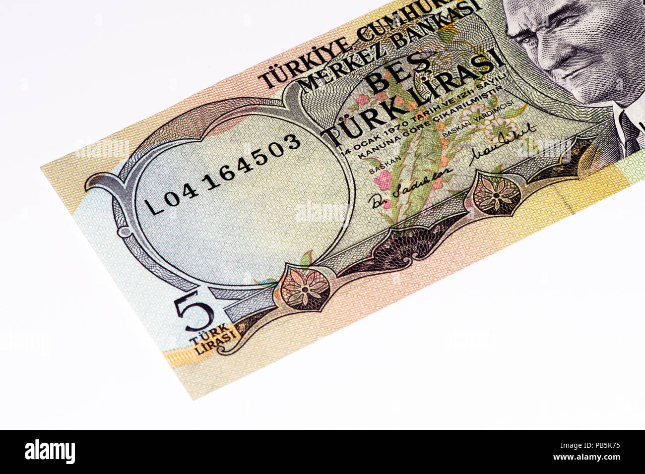 5 Turkish liras bank note. Turkish lira is the national currency of Turkey Stock Photo