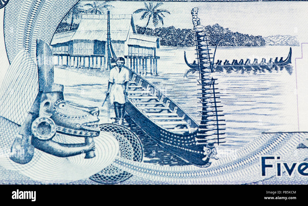 5 Solomon Islands dollar bank note. Solomon Islands dollar is the national currency - Stock Image
