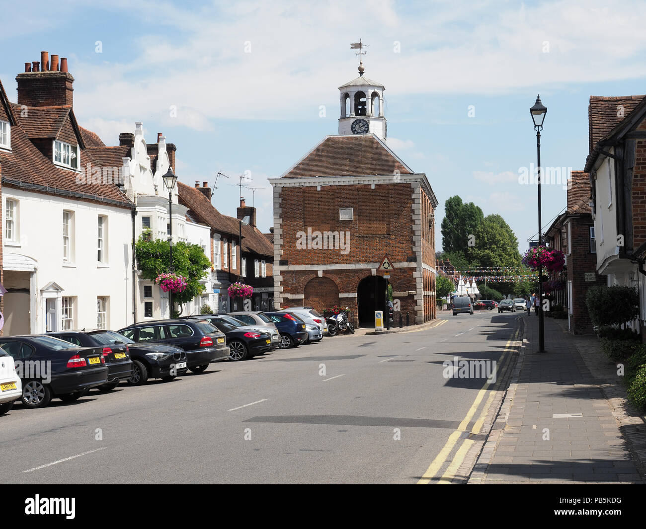 View of the High Street in Old Amersham Town in Buckinghamshire. Stock Photo