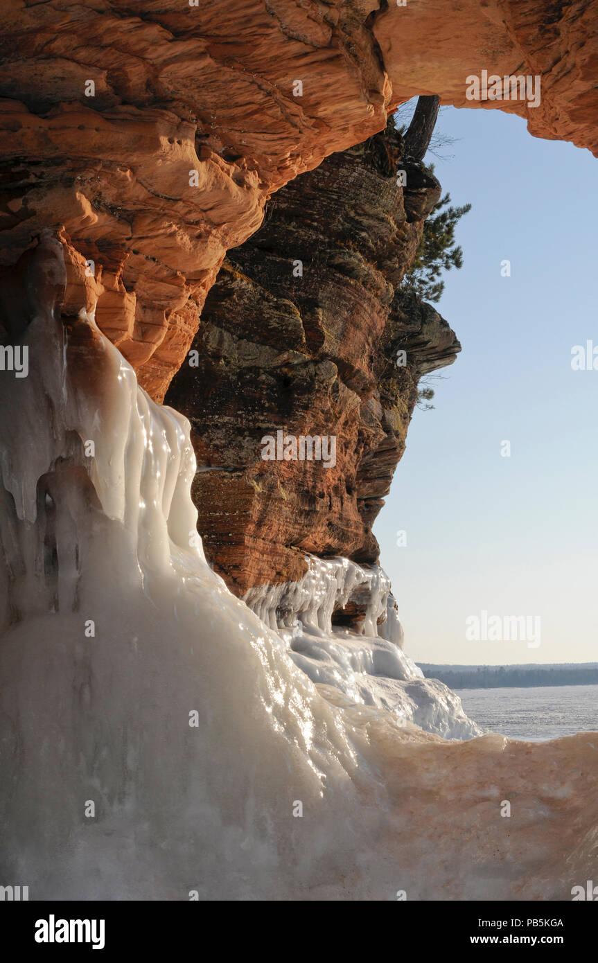 Apostle Islands. Sea caves. - Stock Image