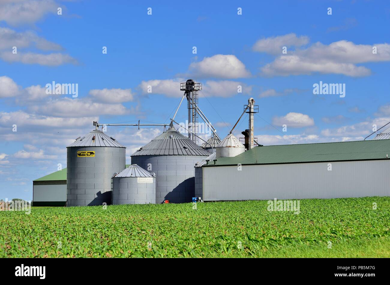 Burlington, Illinois, USA. Storage Tanks And Silos At A Cooperative Rest  Beyond Fields Of Crops Among Agricultural Land In Northeastern Illinois.