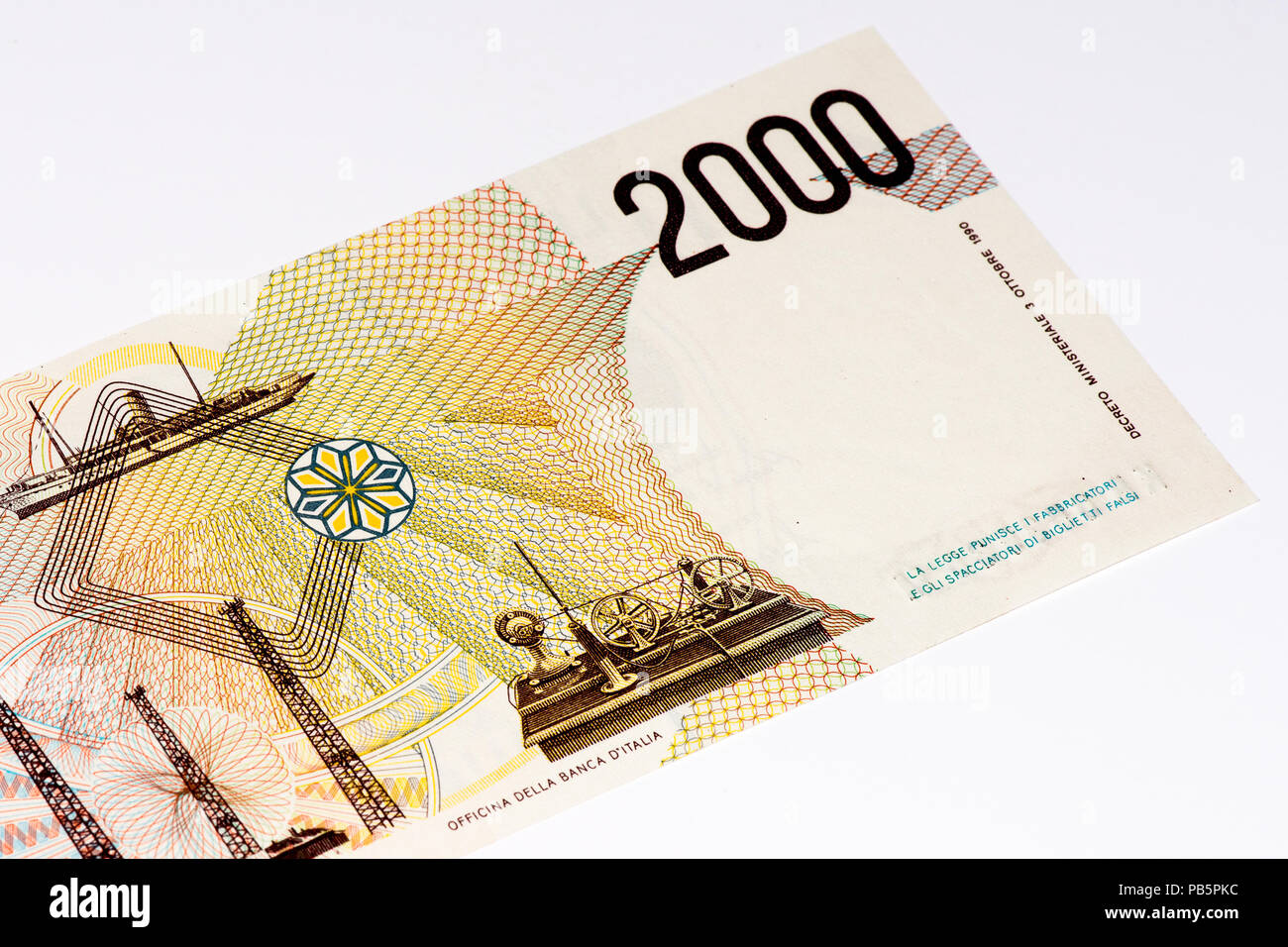 2000 italian liras. Italian liras is the former currency of Italy Stock Photo