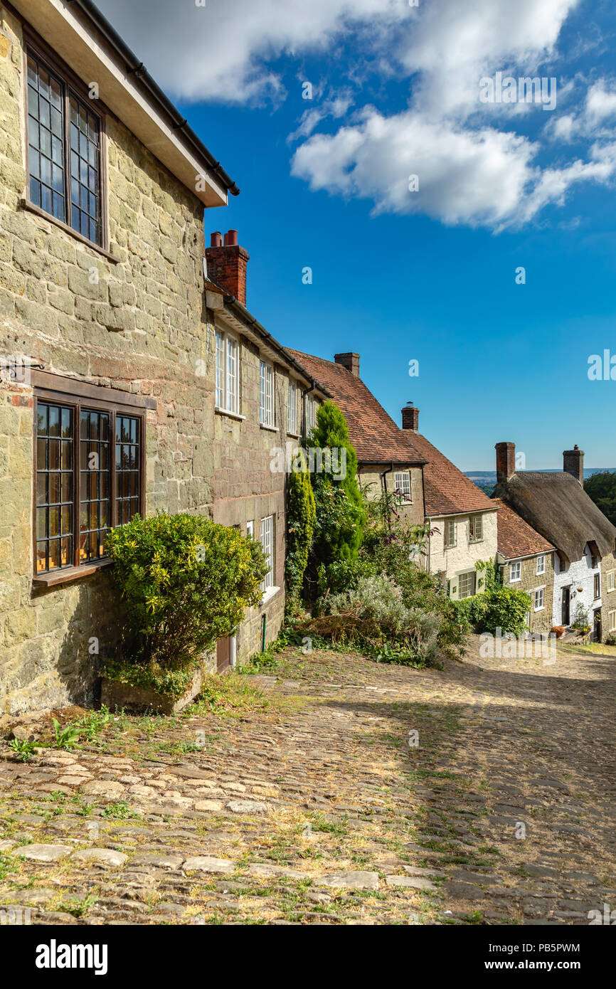 Shaftesbury Dorset England July 23, 2018 Gold hill, one of the most famous and picturesque streets in England - Stock Image