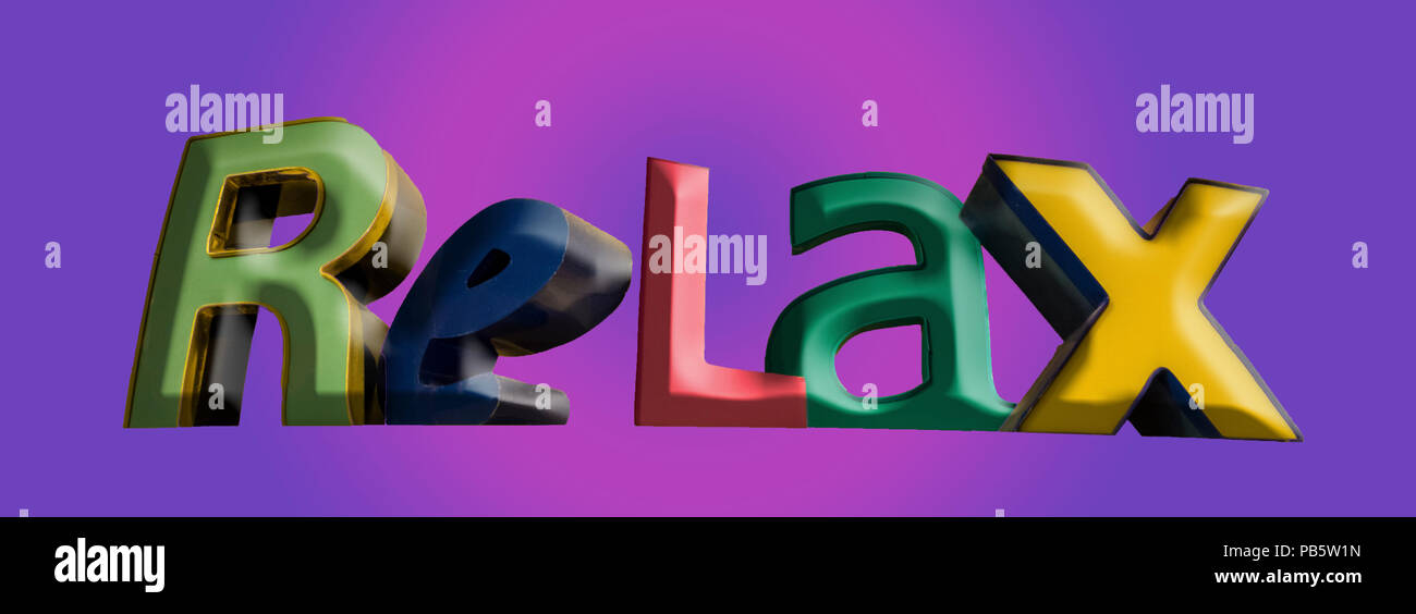Relax sign in different colored letters - Stock Image