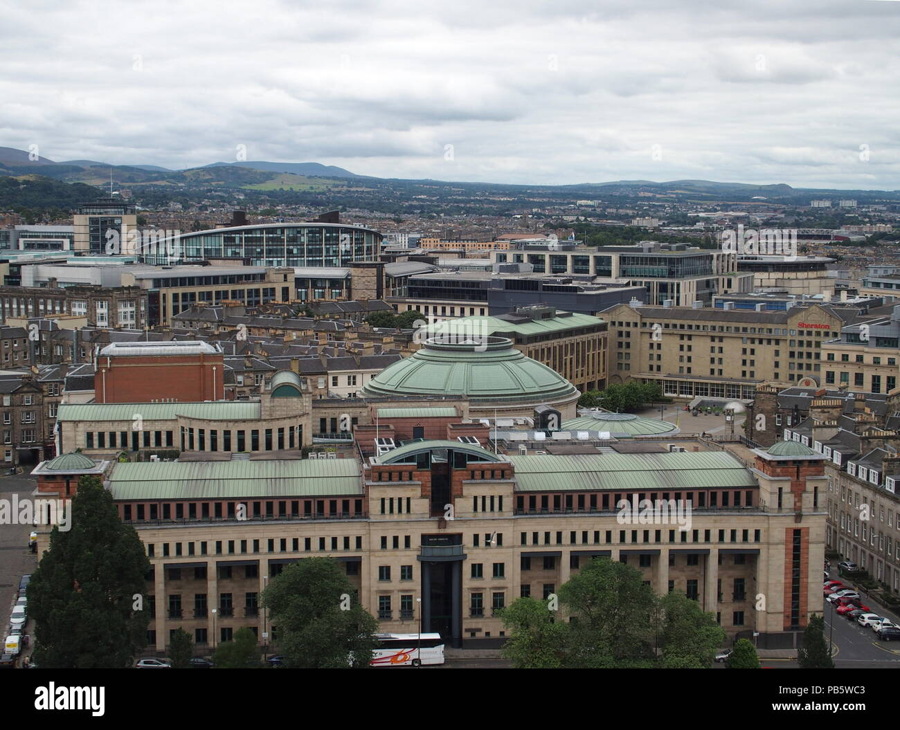 EDINBURGH, SCOTLAND on AUGUST 2016: Famous cityscape landscapes of european capital scottish city in UK with cloudy sky in cold summer day. - Stock Image