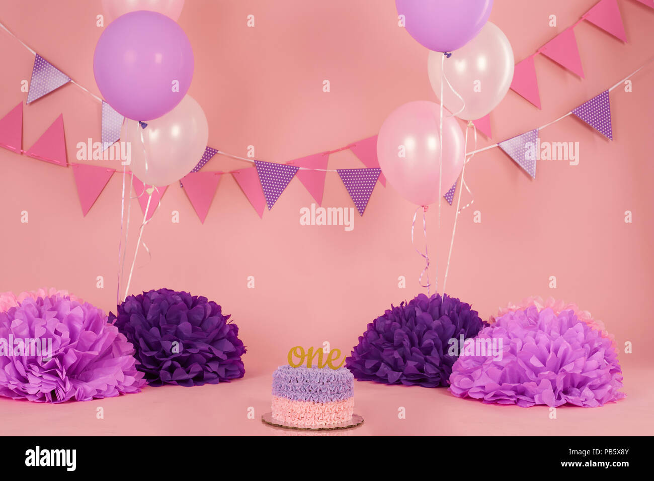 Pink And Purple Birthday Background Cake For 1st Celebration Party
