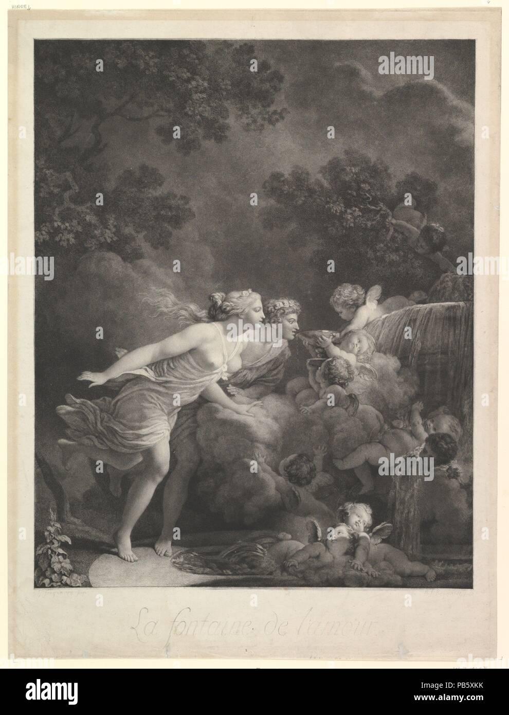La Fontaine d'Amour. Artist: After Jean Honoré Fragonard (French, Grasse 1732-1806 Paris). Dimensions: sheet: 24 15/16 x 19 in. (63.4 x 48.3 cm)  image: 23 7/16 x 16 15/16 in. (59.5 x 43.1 cm). Engraver: Engraved by Nicholas François Regnault (French, Paris 1746-1810). Date: 1785. Museum: Metropolitan Museum of Art, New York, USA. Stock Photo