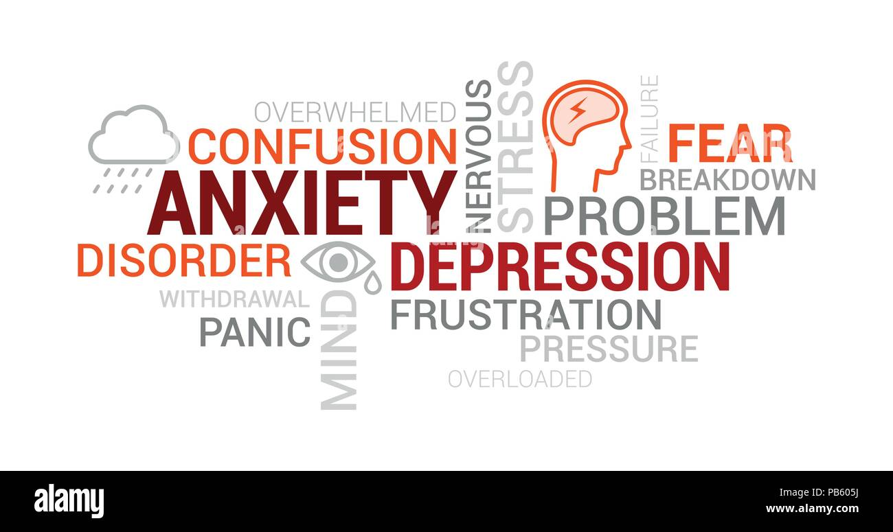 Anxiety, panic and depression tag cloud with words, concepts and icons - Stock Vector