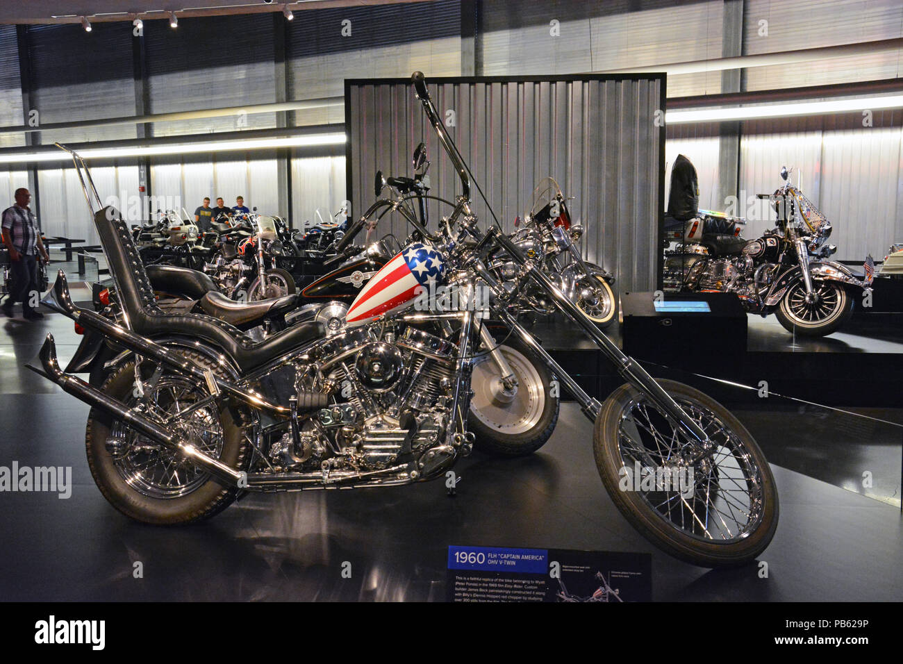 A reproduction of the iconic Easy Rider chopper on display at the Harley Davidson Motorcycle Museum in Milwaukee. - Stock Image