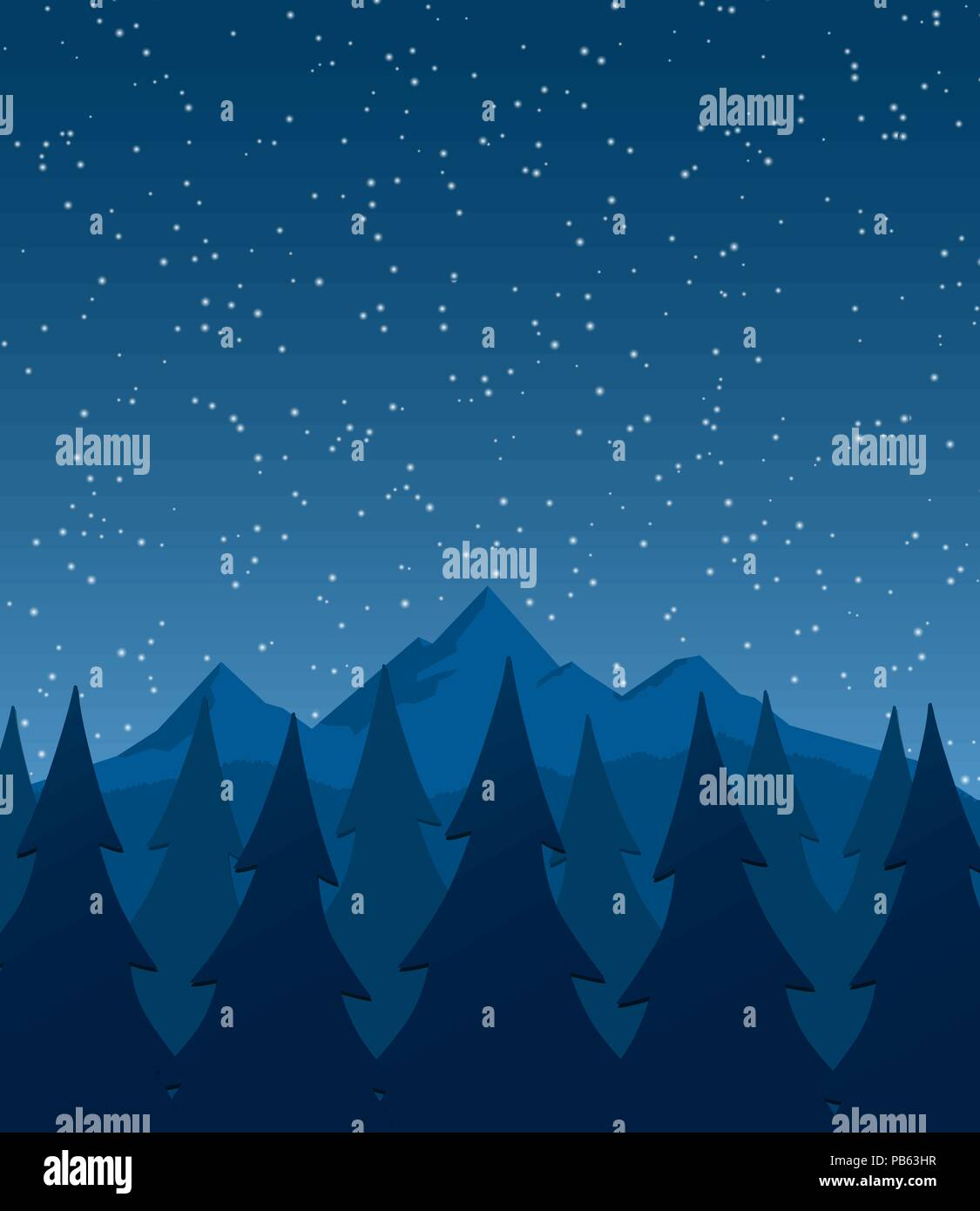 landscape with mountains, trees and starful night sky - Background