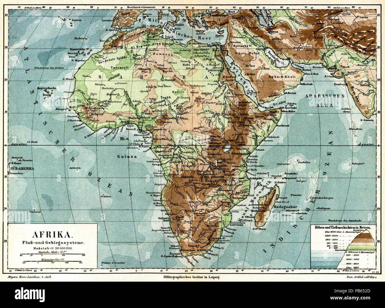Deutsch Karte Afrika Fluss Und Gebirgssysteme 1 50 000 000