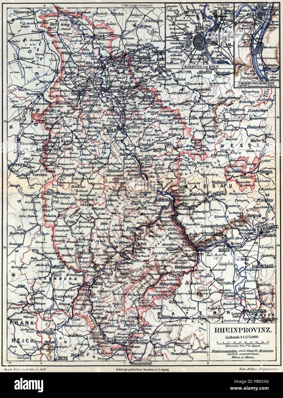 Deutsch Karte Rheinprovinz 1 1 175 000 Mit Nebenkarten