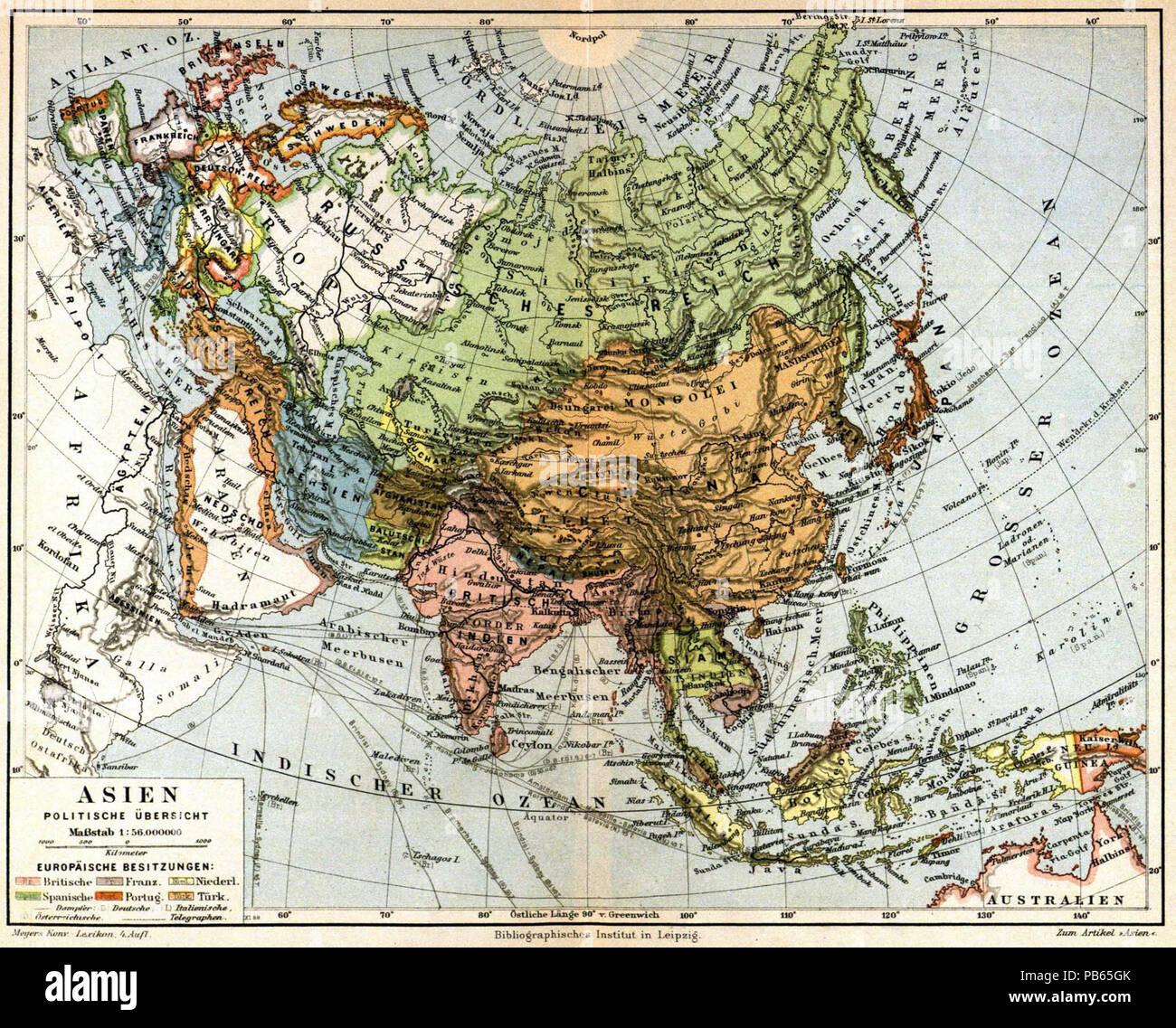 Politische Karte Asien.Deutsch Karte Asien Politische übersicht 1 56 000 000