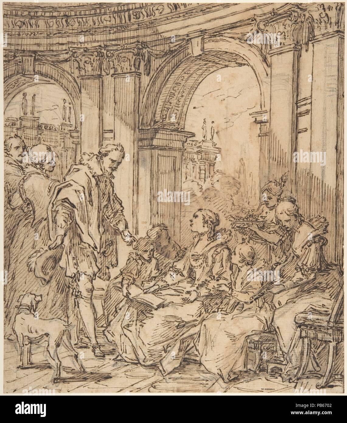 La Conversation espagnole. Artist: Carle (Charles André) Vanloo (French, Nice 1705-1765 Paris). Dimensions: 10 1/16 x 8 3/4 in.  (25.5 x 22.3 cm). Date: 1754. Museum: Metropolitan Museum of Art, New York, USA. - Stock Image