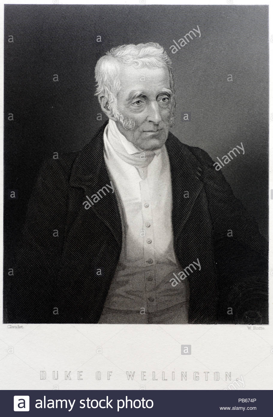 Arthur Wellesley, Duke of Wellington portrait, 1769 – 1852 was an Anglo-Irish soldier and statesman who was one of the leading military and political figures of 19th-century Britain, serving twice as Prime Minister, antique engraving from 1884 - Stock Image