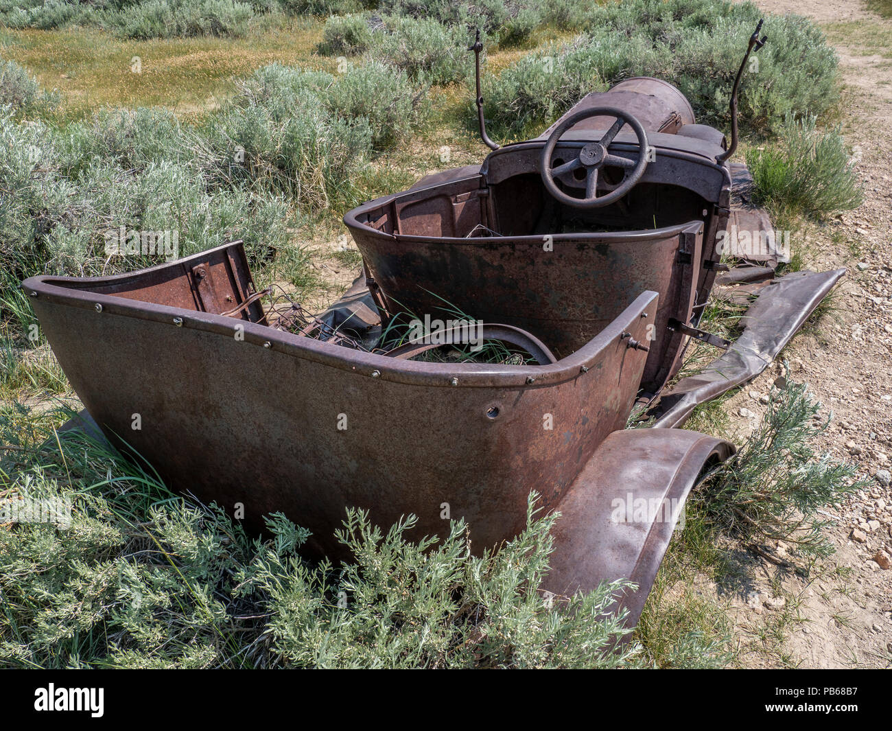 Rusted Model-T (?), Bodie ghost town, Bodie State Historic Park, California. - Stock Image