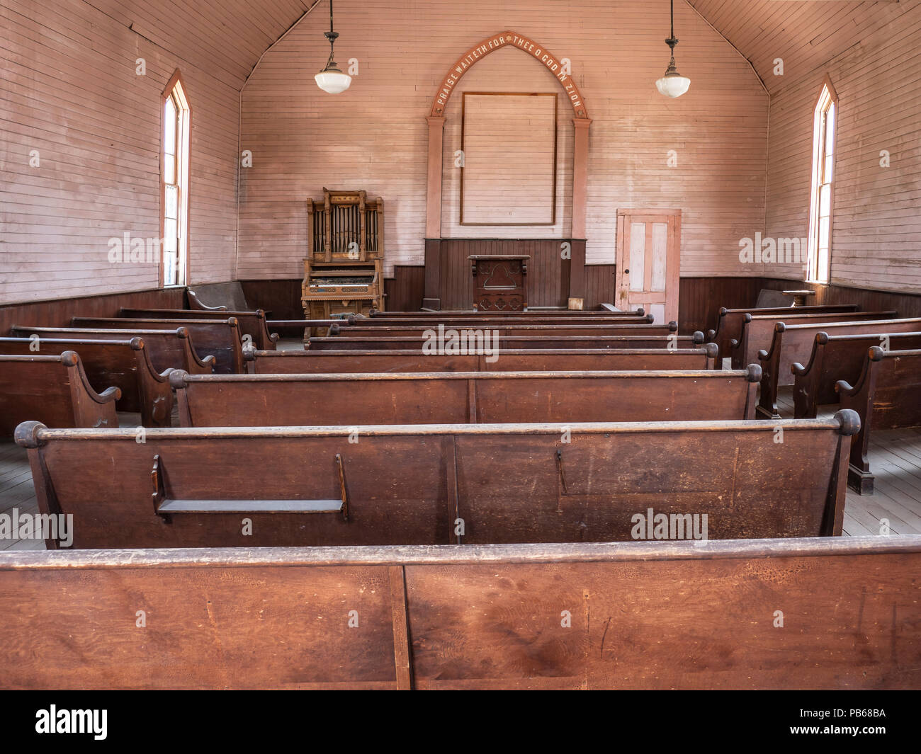 Inside the Methodist Church, Bodie ghost town, Bodie State Historic Park, California. Stock Photo