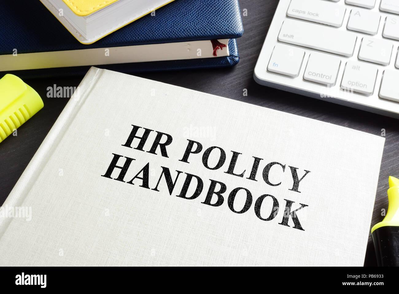 hr policy handbook on an office desk stock photo 213424487 alamy
