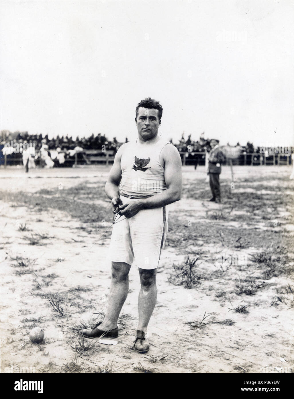 838 John Jesus Flannigan of the Greater New York Irish Athletic Association, winner of the 16 pound hammer throw at the 1904 Olympics - Stock Image