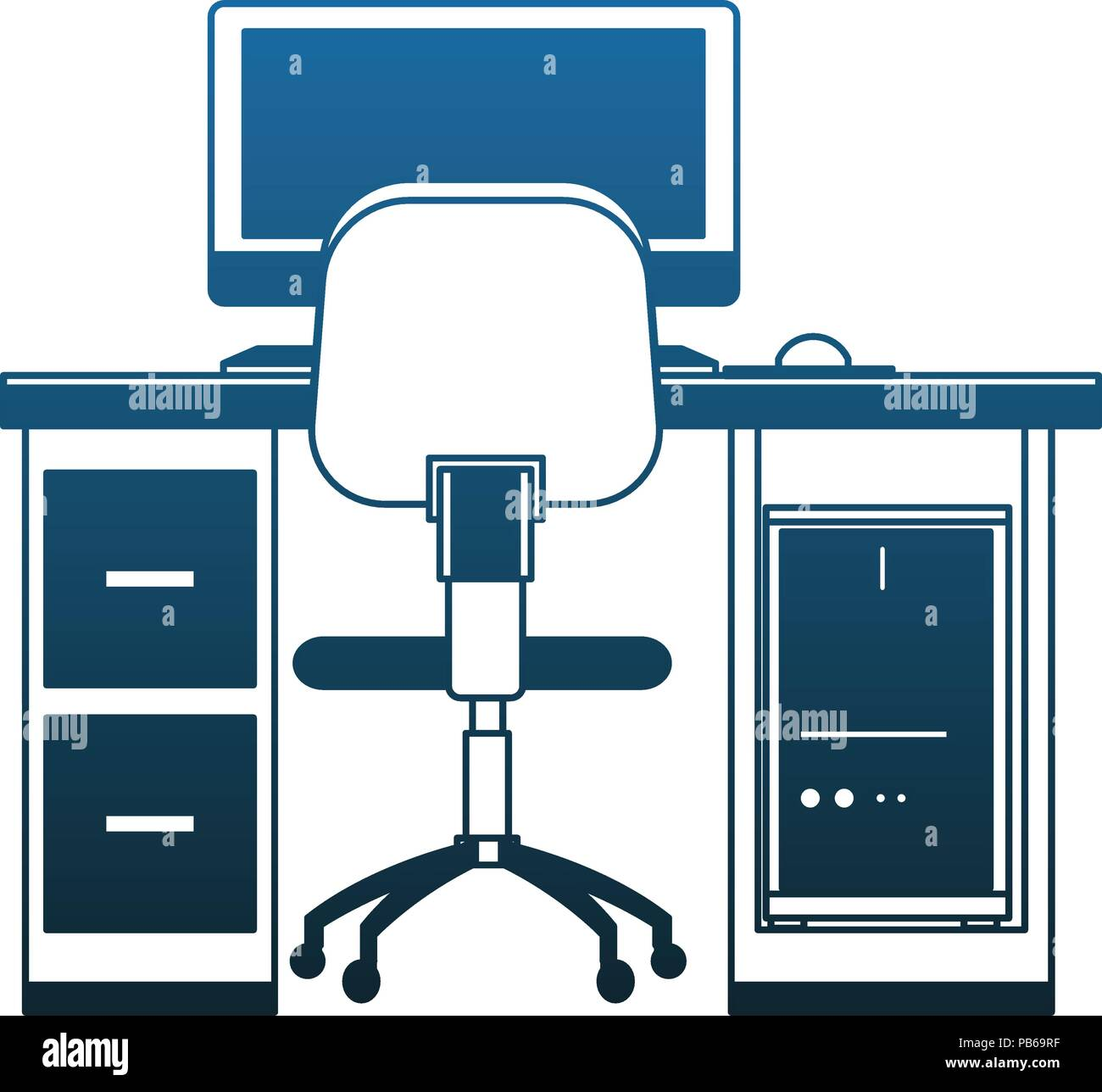 Superb Office With Pc On Desk Vector Illustration Graphic Design Pabps2019 Chair Design Images Pabps2019Com