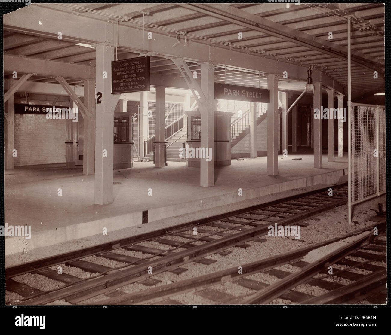 English: Platform of what is now Park Street MBTA station in
