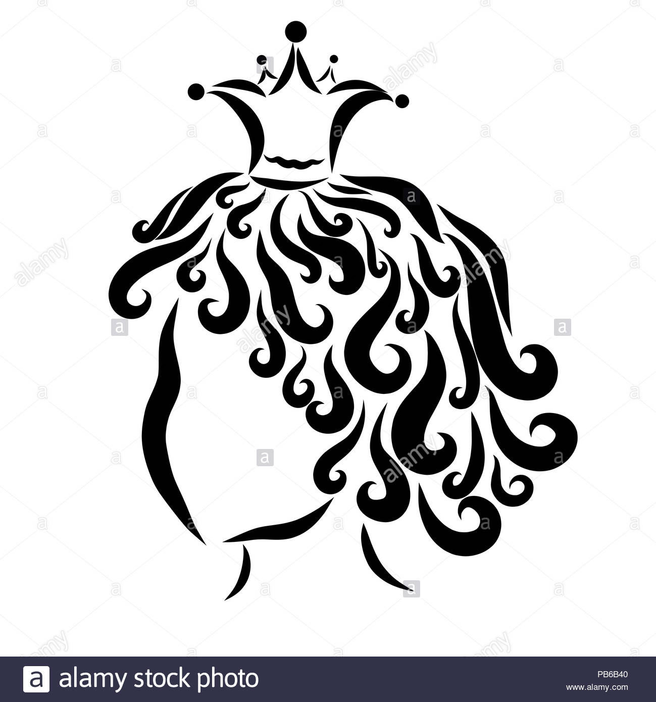 Little curly prince or princess in the crown, profile - Stock Image