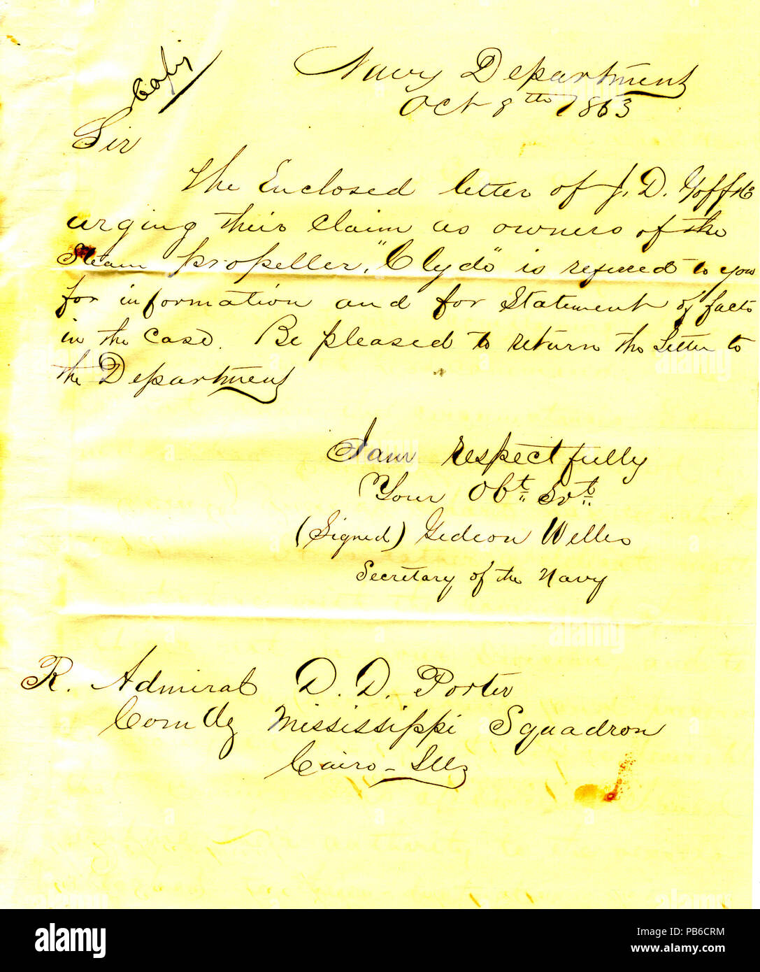 901 Letter from Gideon Welles, secretary of the navy, to David D. Porter, Cairo, Illinois, October 8, 1863 - Stock Image