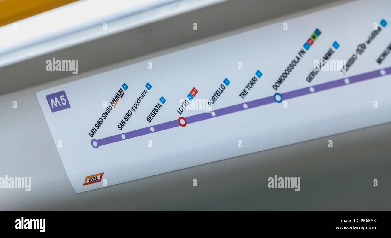 MILAN, ITALY - November 2, 2017: Inside the subway, a map shows the stations of the M5 line on a fall day - Stock Image