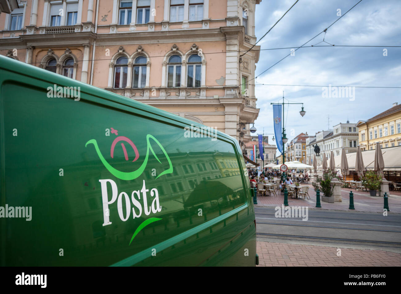 SZEGED, HUNGARY - JULY 4, 2018: Hungarian Post (also known as Magyar Posta) logo on one of their delivery vans. Magyar Posta is the postal administrat - Stock Image