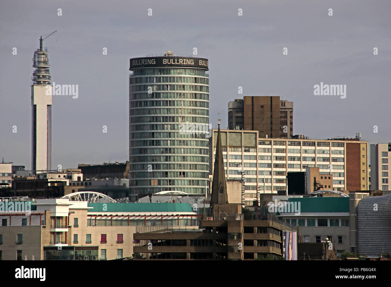 Birmingham City Centre Panoramic Skyline view, West Midlands, England, UK, from south of town - Stock Image