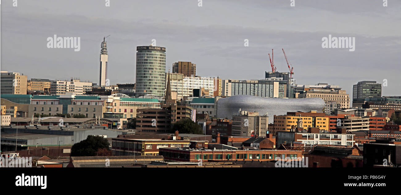 Birmingham City Centre Panoramic Skyline view, West Midlands, England, UK, from south of town Stock Photo