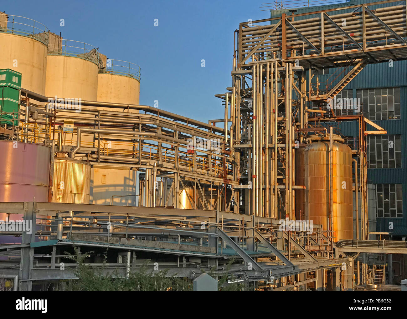 Chemical factory pipework, Lever Brothers Ltd, Warrington Bank Quay, Cheshire, North West England, UK - Stock Image