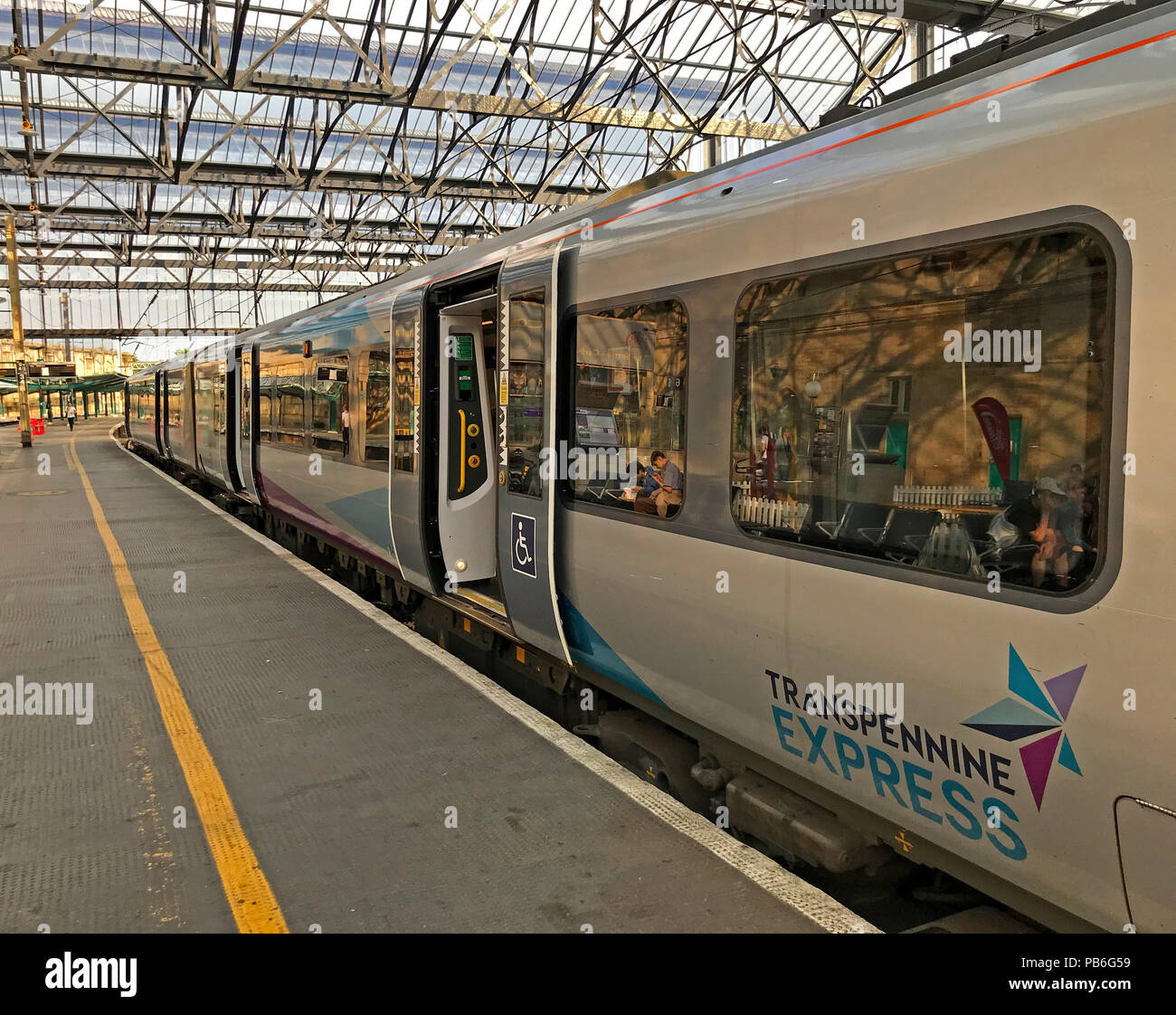 TransPennine Express Train, platform four,Carlisle railway station,Cumbria,England , UK - Stock Image