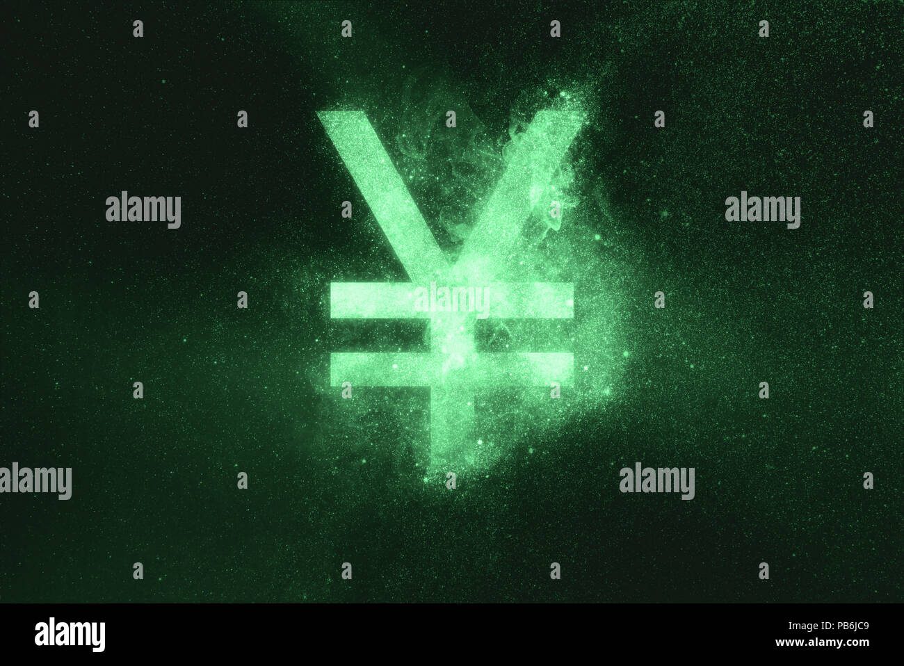 Japanese yen sign, Japanese yen symbol. Green symbol - Stock Image