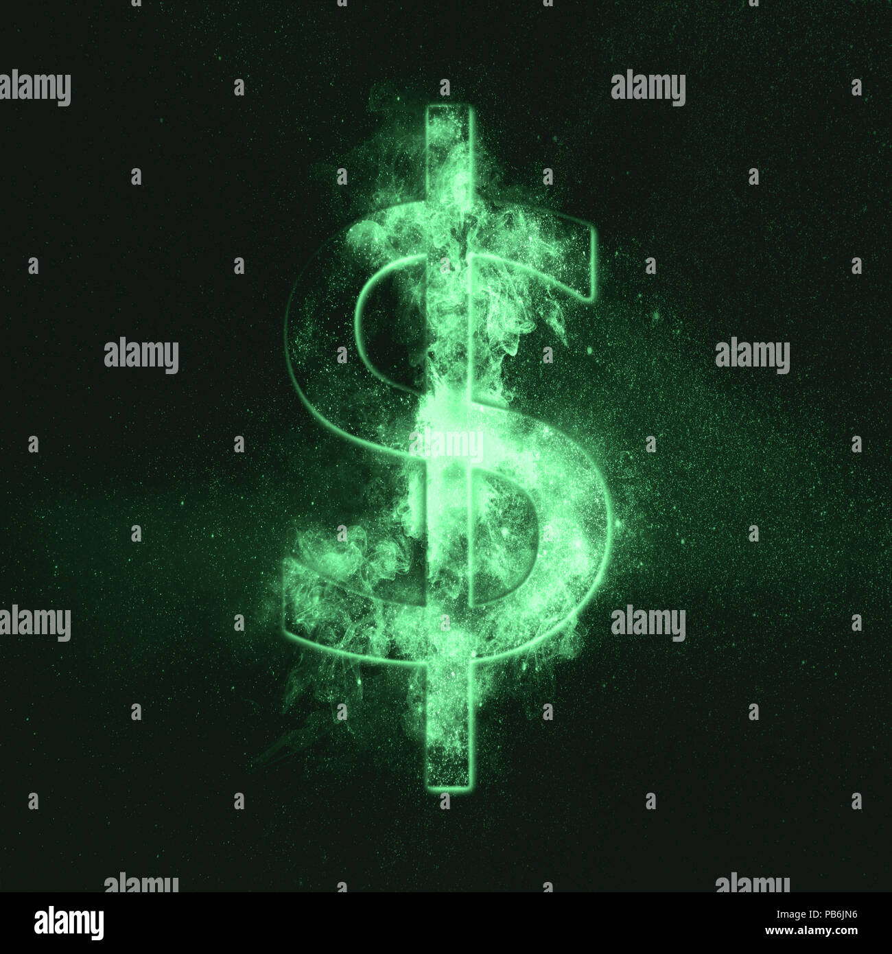 Dollar sign, Dollar Symbol. Monetary currency symbol. Green symbol - Stock Image