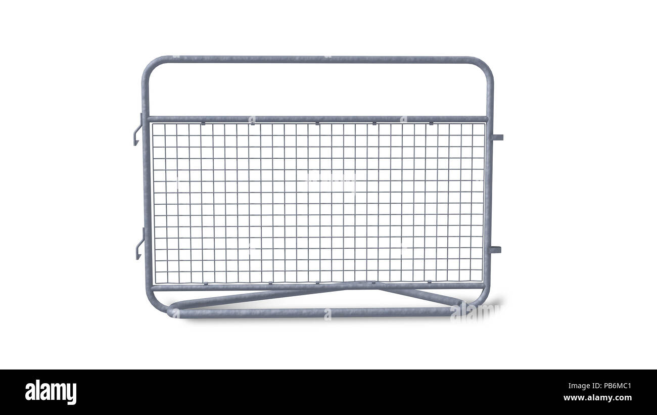 galvanized steel barrier for crowds or construction - Stock Image