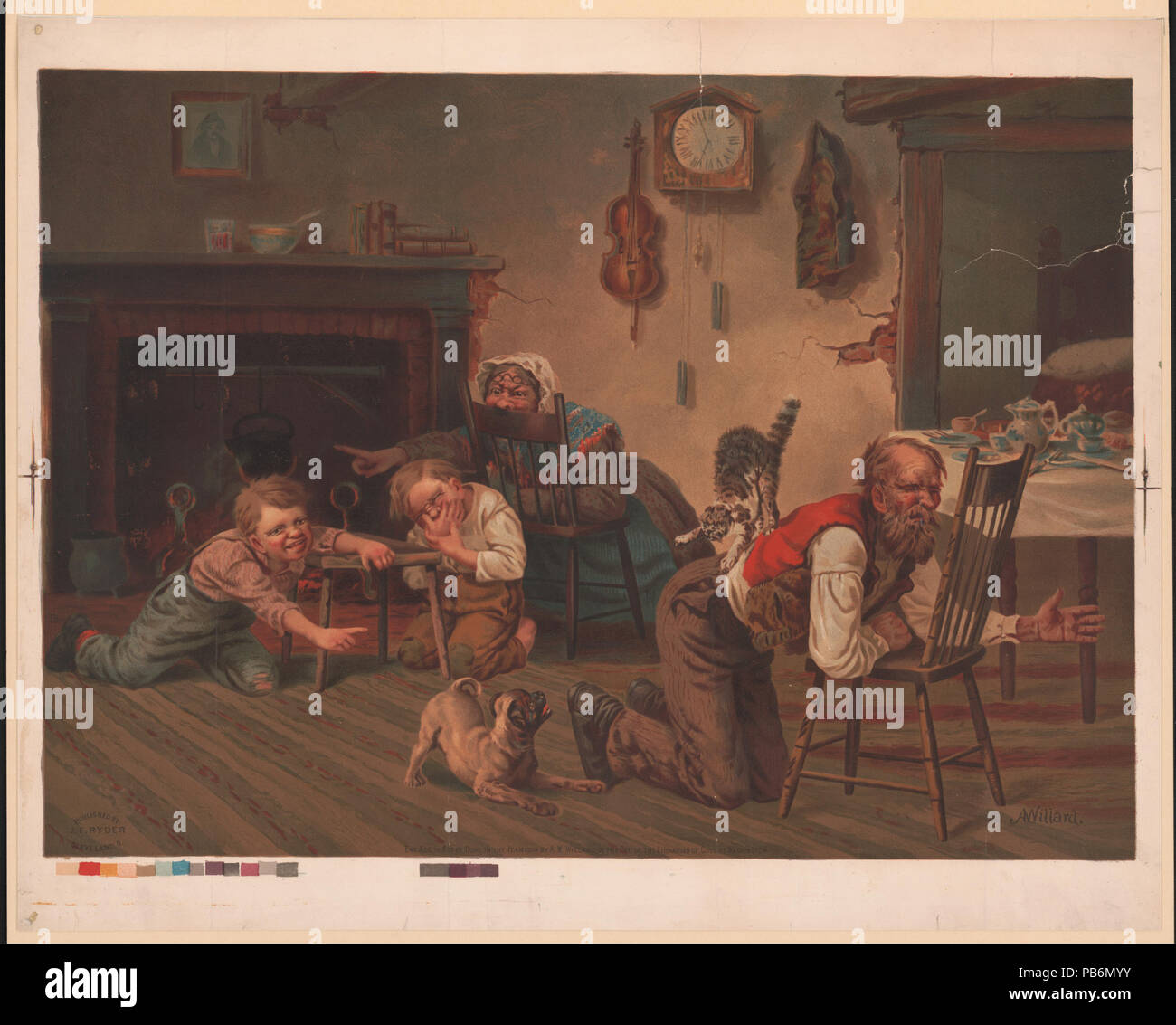 1780 Two children enjoying the commotion caused at meal time when a dog has chased a cat onto the back of their father LCCN00652581 - Stock Image