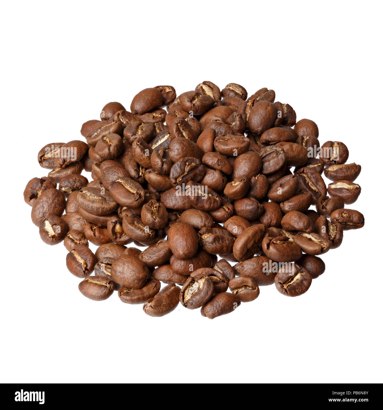 Ethiopia Sidamo gourmet coffee on white background. - Stock Image