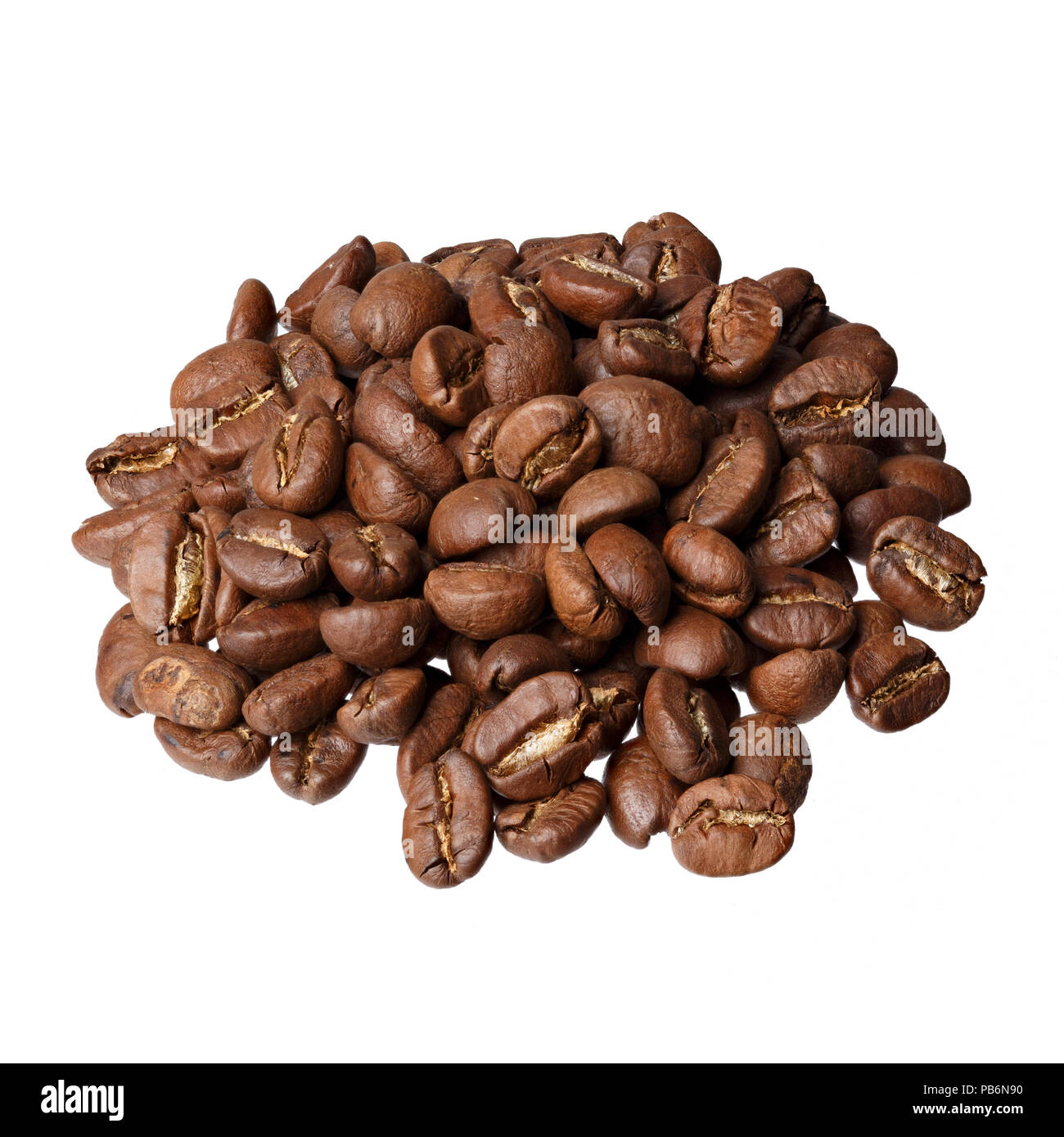 Nicaragua Coffee beans gourmet coffee on white background. - Stock Image