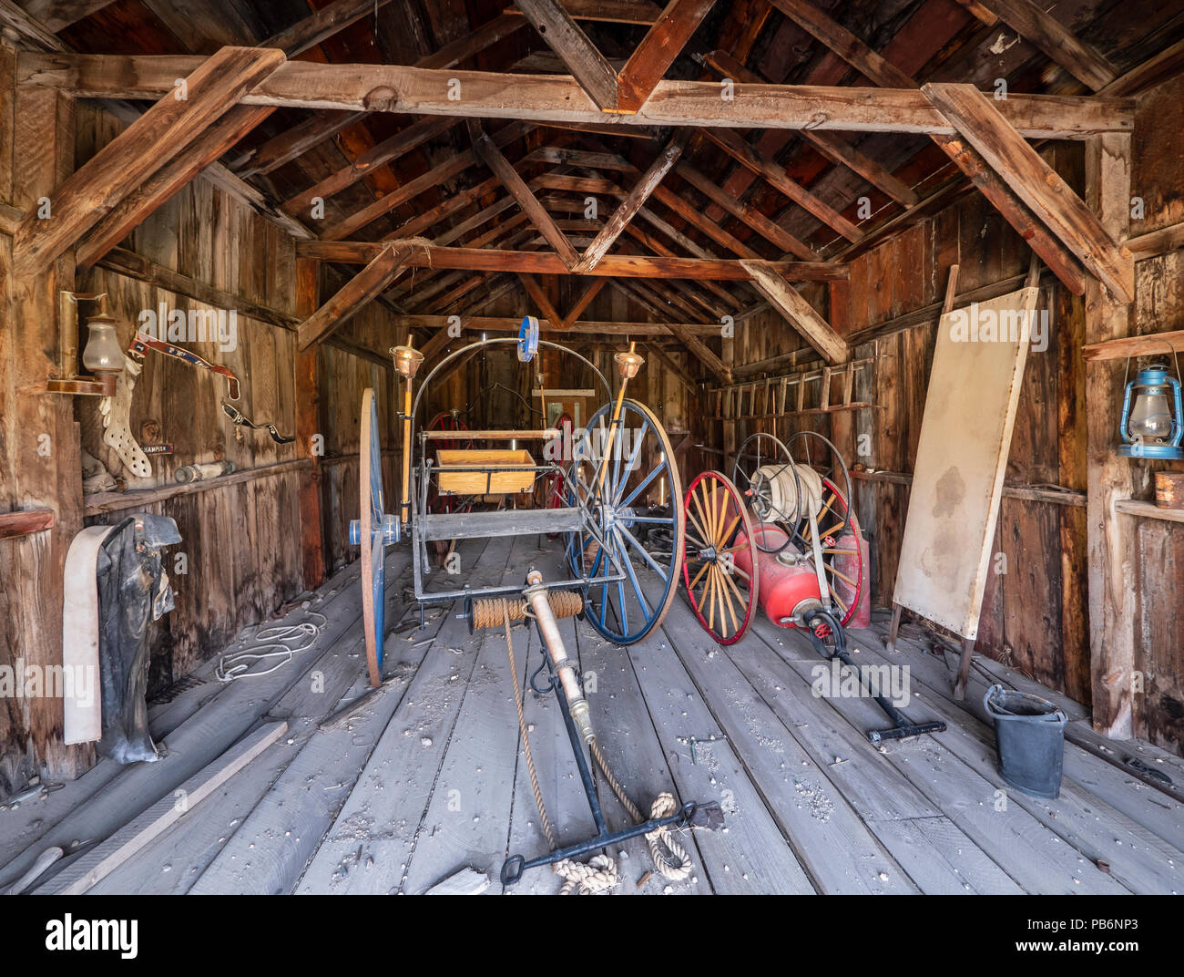 Inside the Firehouse, Bodie ghost town, Bodie State Historic Park, California. - Stock Image
