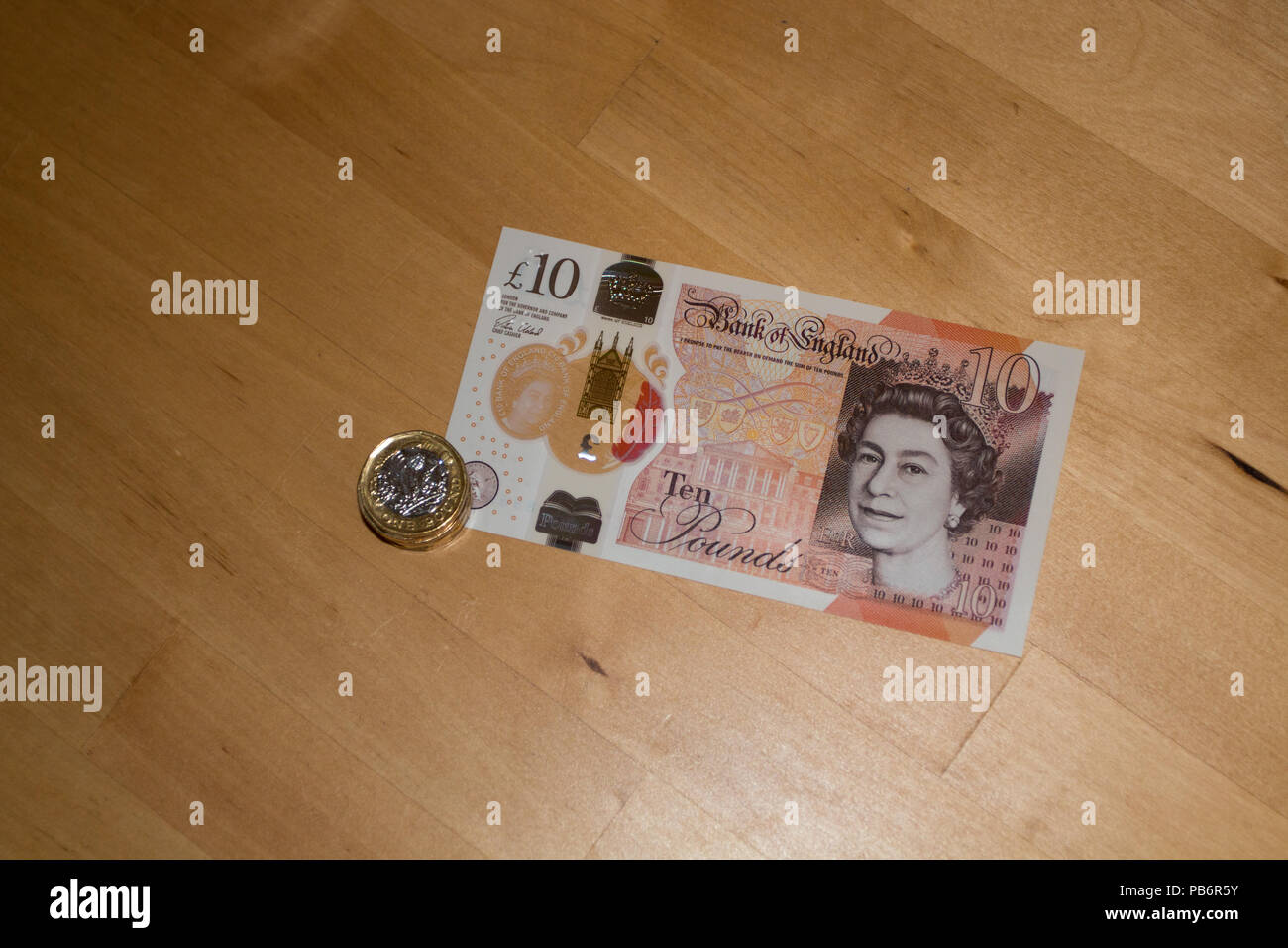 TEN POUND NOTE: New Ten Pound Note issued in 2018 - Stock Image