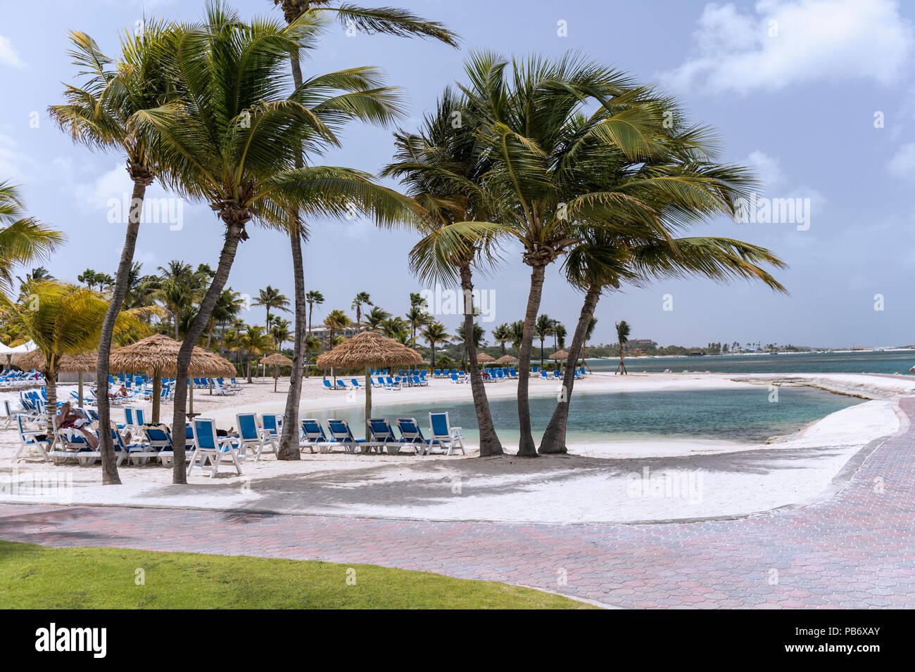 Renaissance Aruba Resort pool,  Oranjestad, Aruba, Caribbean - Stock Image