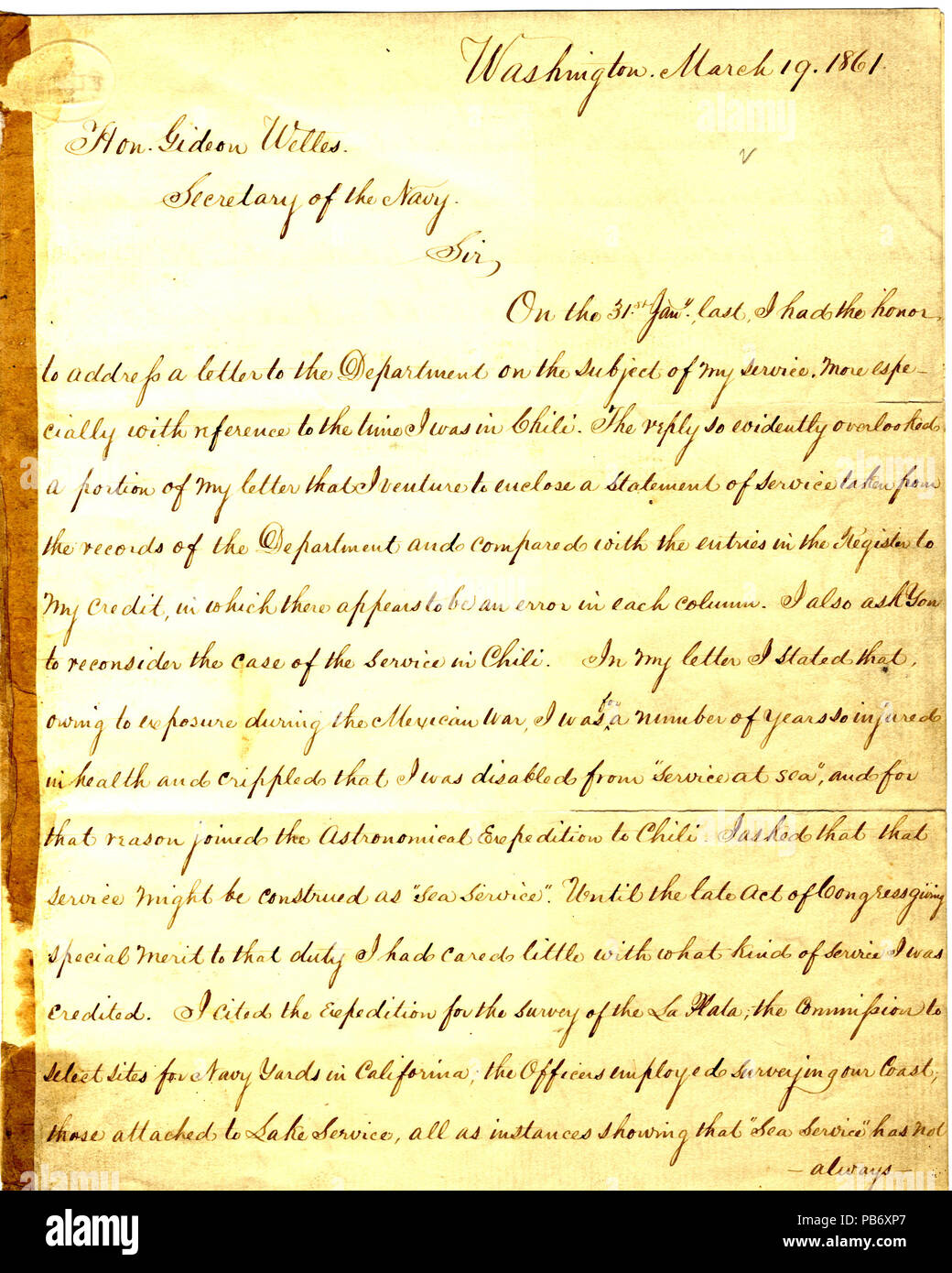 903 Letter from Seth Ledyard Phelps Washington, D. C., to Gideon Welles, March 19, 1861 - Stock Image