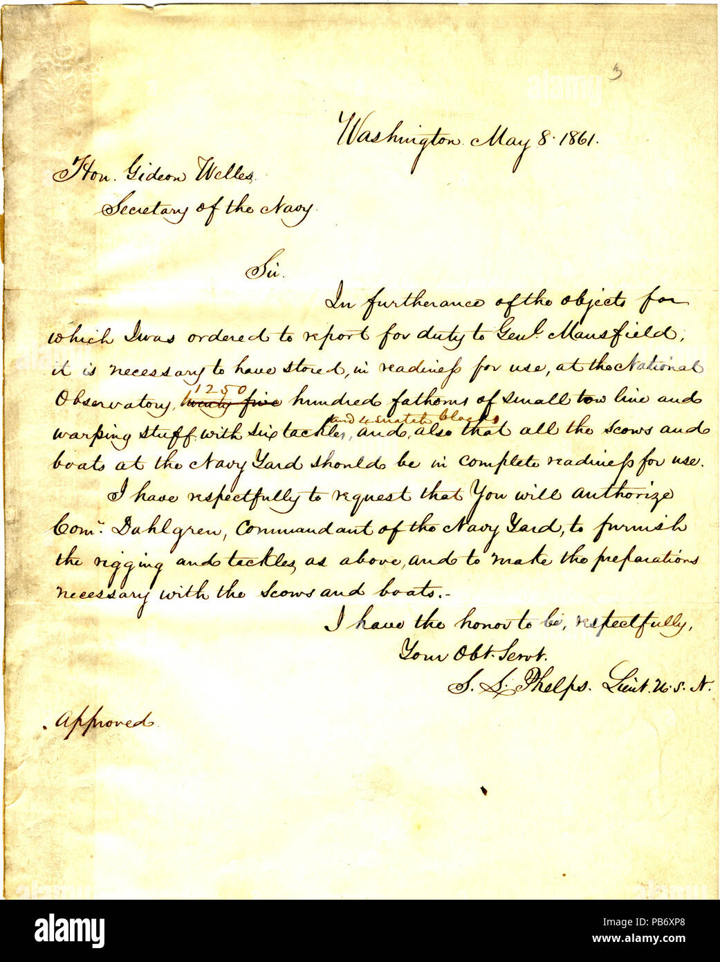 899 Letter from (Seth Ledyard) Phelps, Washington, D. C., to Gideon Welles, May 8, 1861 - Stock Image