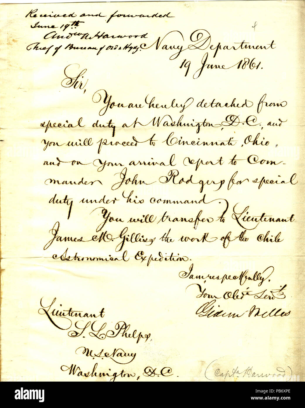 901 Letter from Gideon Welles to (Seth Ledyard) Phelps, Washington, D. C., June 19, 1861 - Stock Image